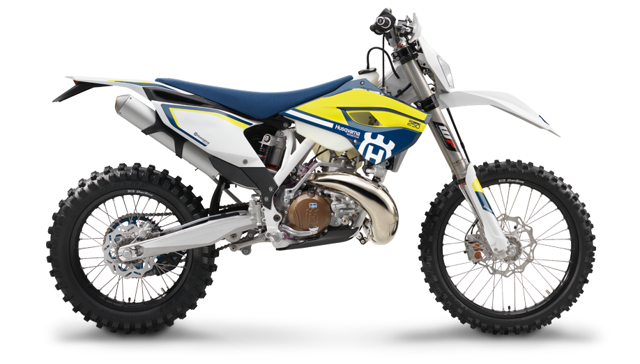 Husqvarnas Two Stroke Electric Start Off Road Bike Is Made Mostly From KTM Parts But The End Result Has Its Own Identity It Uses Linkage Rear Suspension