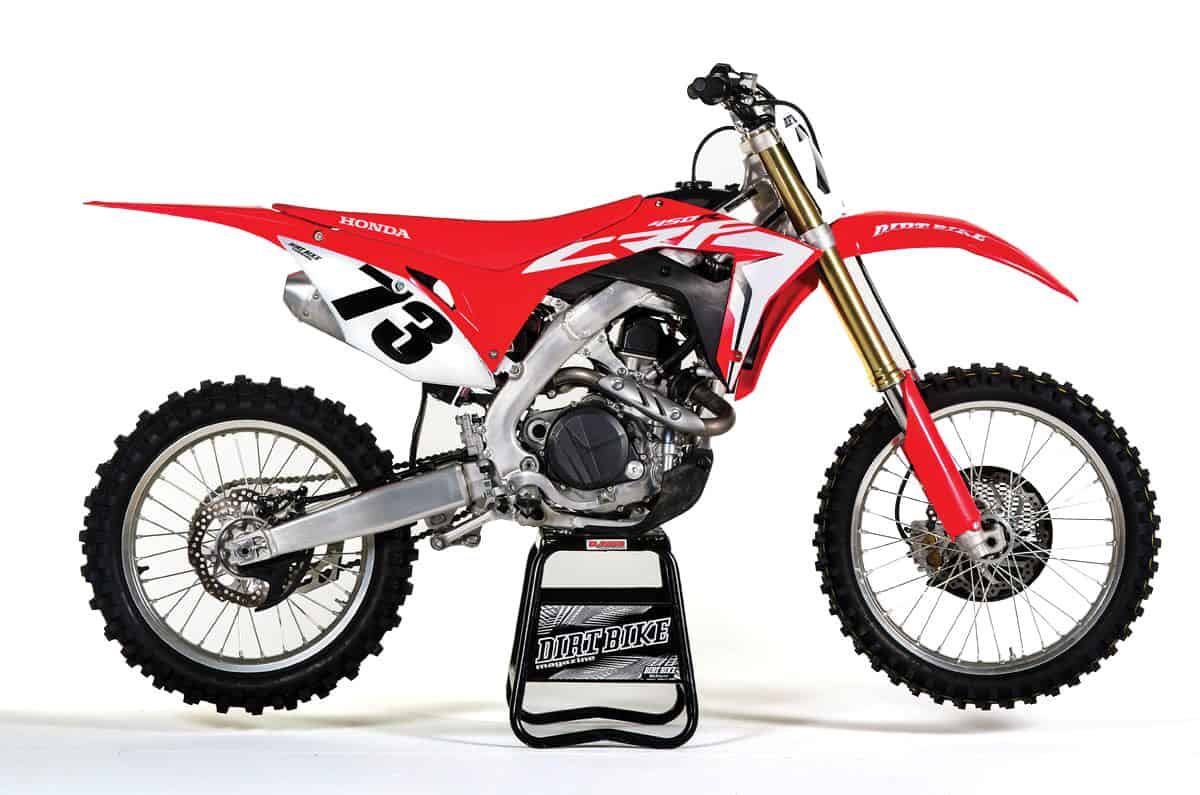 The 2018 Honda CRF450R has no kickstarter, but there's still a place to install one, it you're determined.