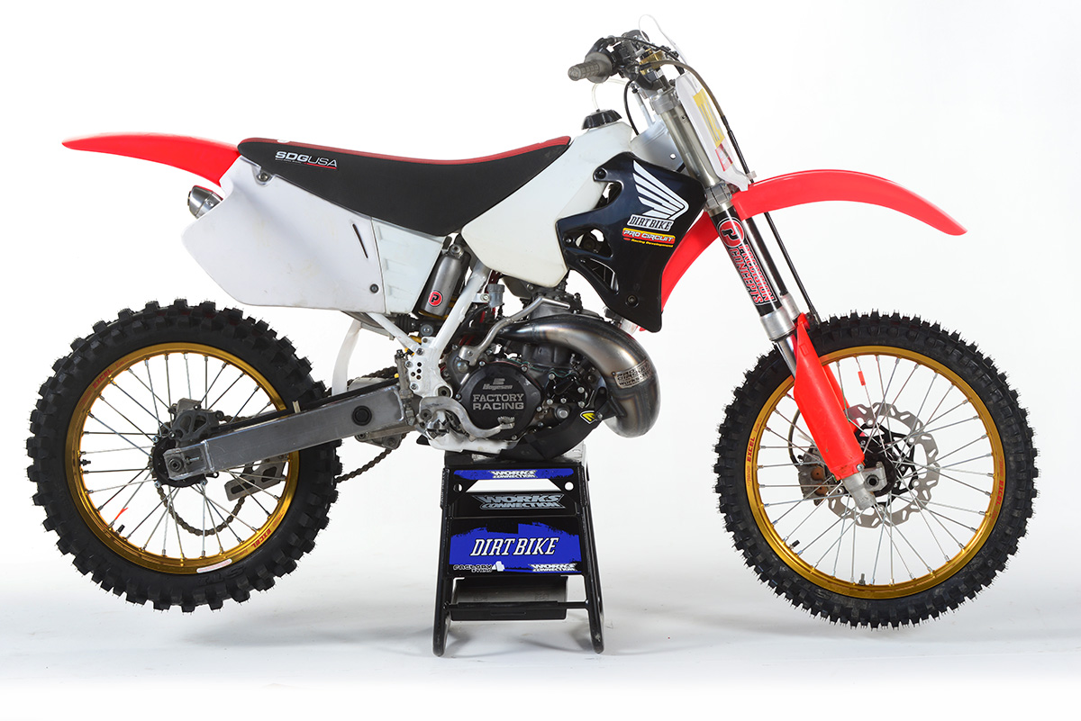 The 1995 Honda CR250R Revo Racer is about 80 percent done.