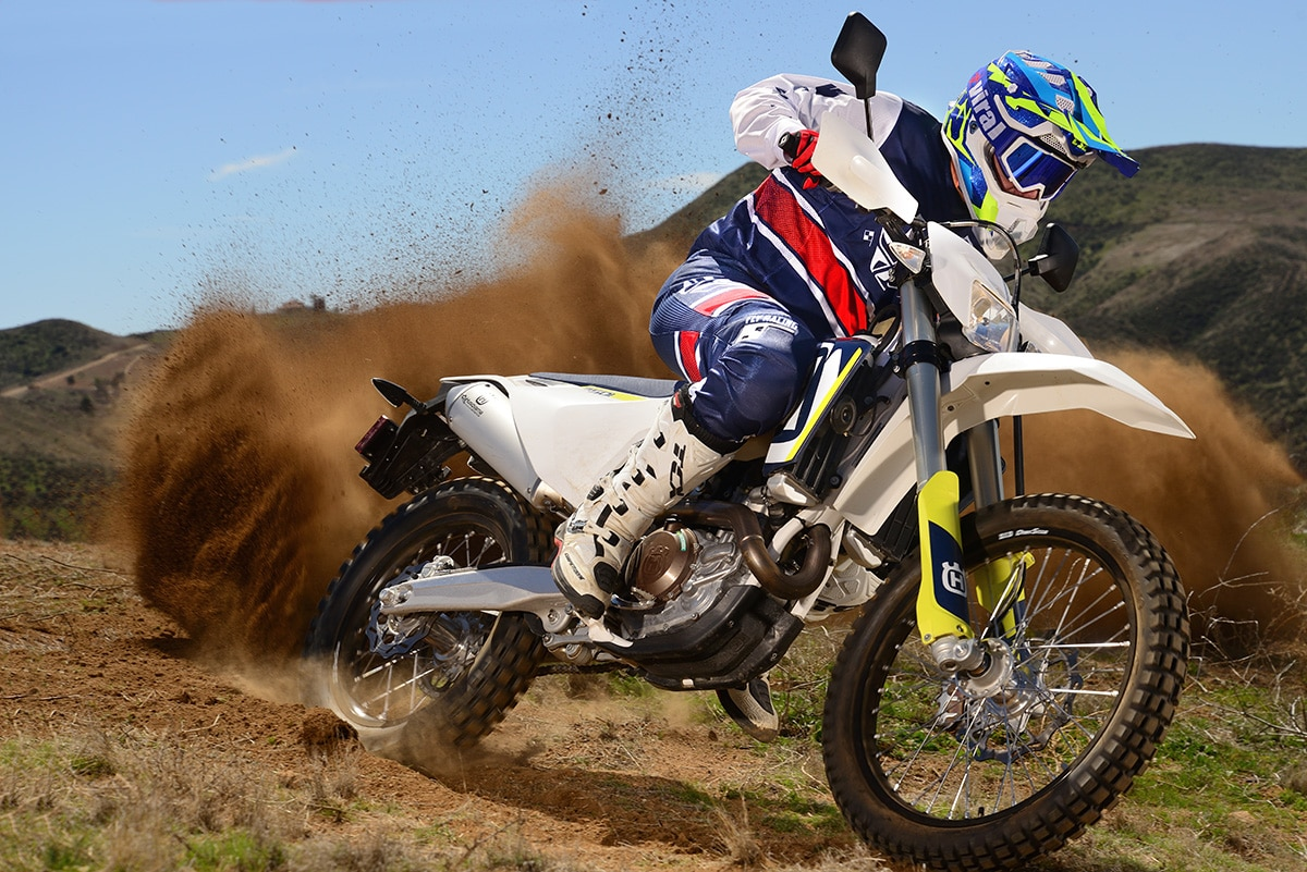 The Husky FE501 dual-sport is the only off-road oriented 500cc four-stroke in the current Husqvarna line.