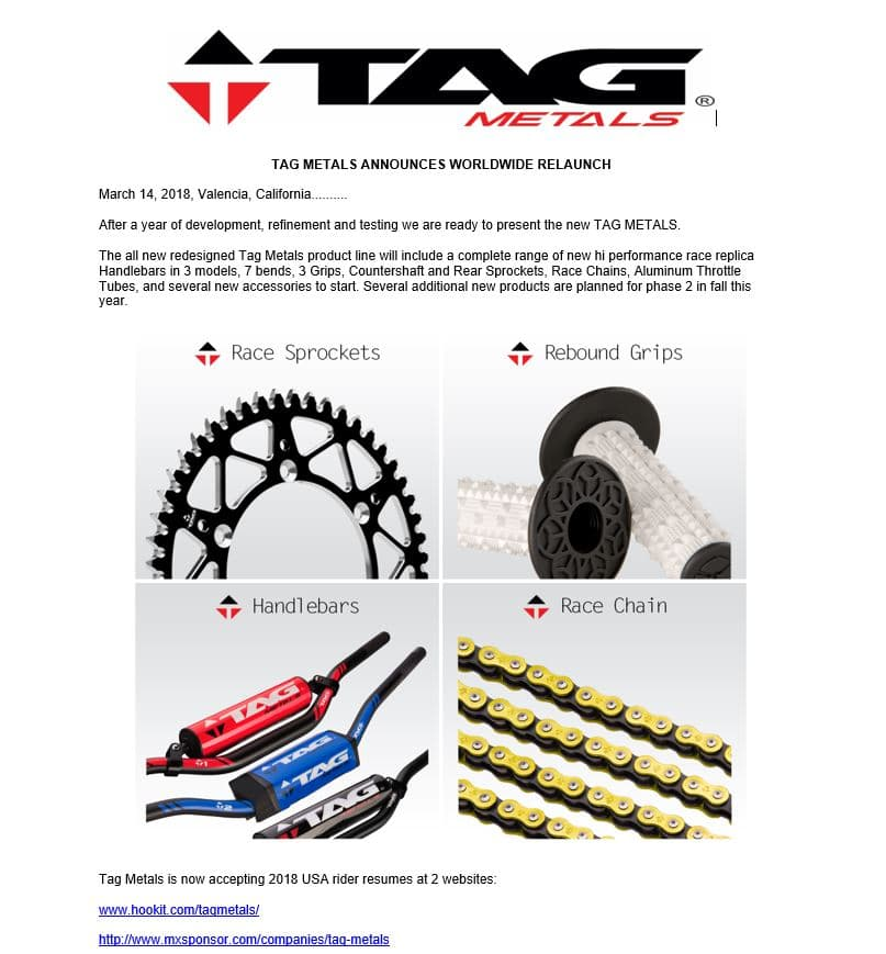 TAG METALS ANNOUNCES WORLDWIDE RELAUNCH!