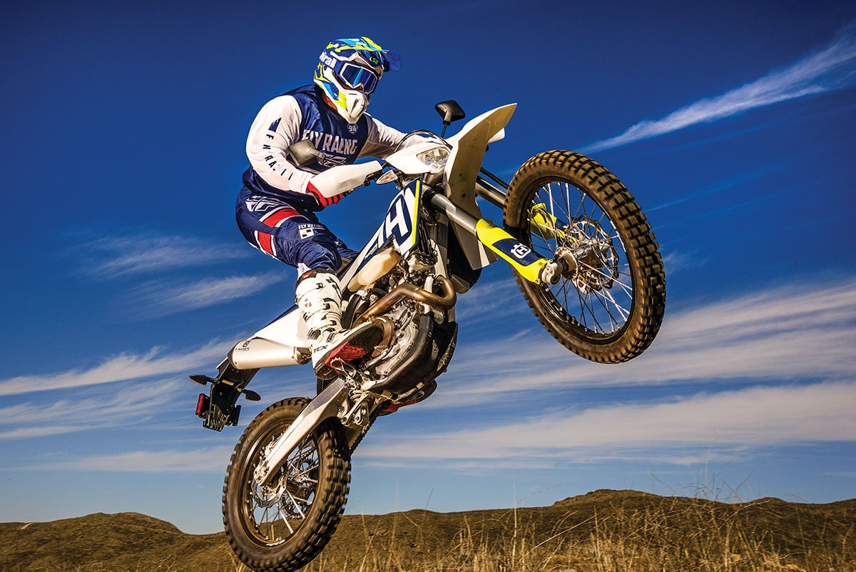Husqvarna's FE501 is a blood brother to the KTM 500EX-A, but has different rear suspension, brakes, bodywork, airbox and components.