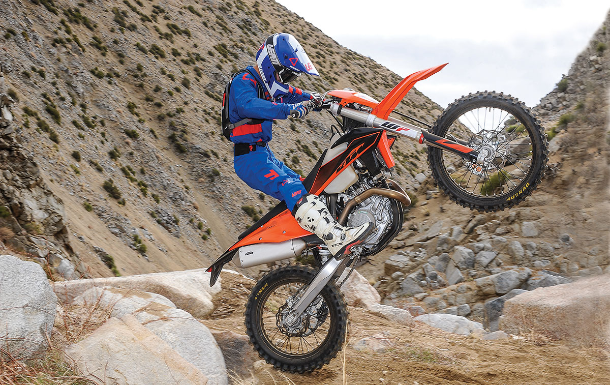 The 500XCF-W marks a return to a dirt-only green-sticker-legal machine for KTM. It is all new from the frame through the engine. Test rider Ryan Koch is at the wheel.