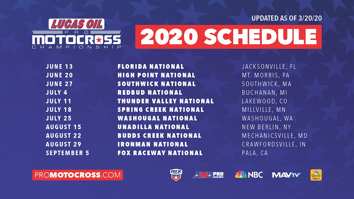 NEW SCHEDULE FOR 2020 LUCAS OIL PRO MOTOCROSS – Dirt Bike Magazine
